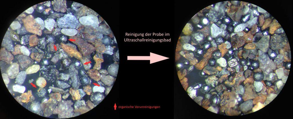 Unterschied der Probe ohne und mit Behandlung im Ultraschallreinigungsbad