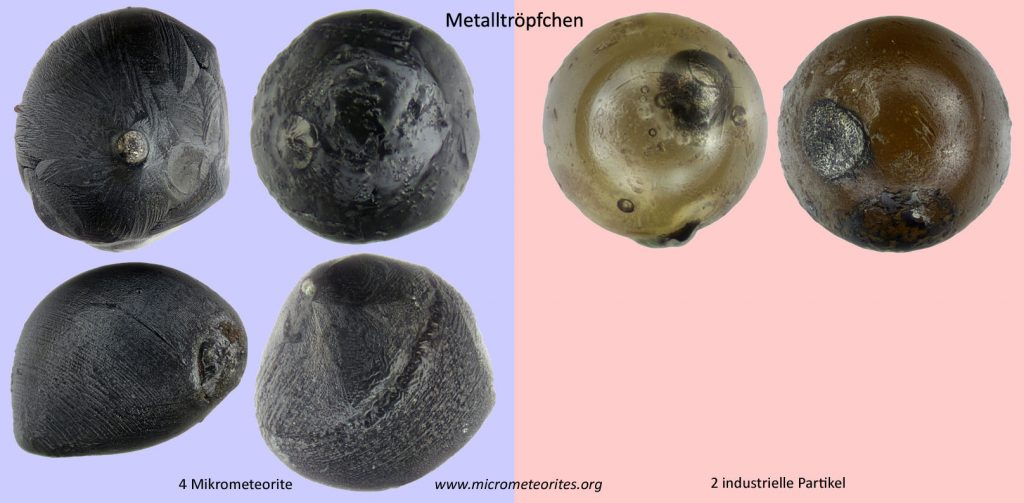Unterscheidungsmerkmal Metalltröpfchen: links 4 Mikrometeorite, rechts 2 industrielle Partikel