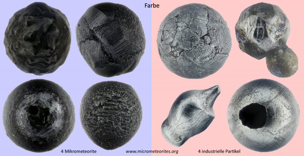 Unterscheidungsmerkmal Farbe: links 4 Mikrometeorite, rechts 4 industrielle Partikel
