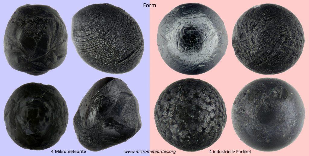 Unterscheidungsmerkmal Form: links 4 Mikrometeorite, rechts 4 industrielle Partikel