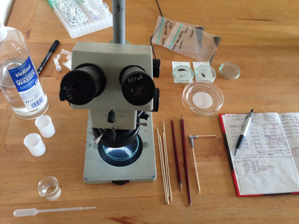 Materialien für die Suche und Extrahierung von Mikrometeoriten aus der Probe