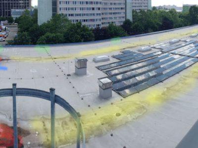 Die Verteilung der Mikrometeorite im Sediment auf dem Dach